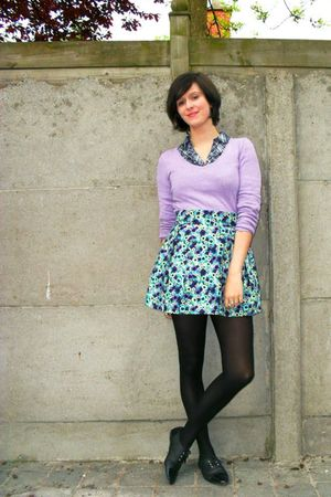 blue skirt - purple sweater - blue shirt - black tights - black shoes