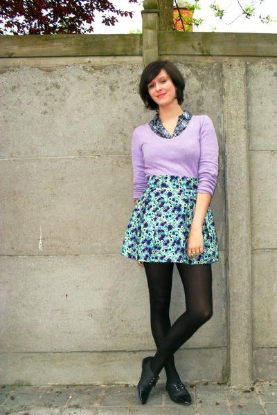 blue skirt - purple sweater - blue shirt - black tights - black shoes