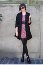 Pink-dress-black-coat-black-shoes-black-belt-black-glasses