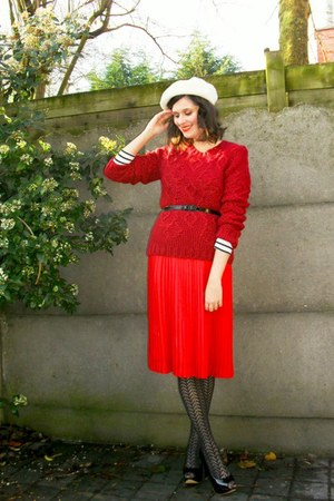 ruby red sweater - red skirt - black tights - black shoes - cream hat - black be