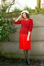 Ruby-red-sweater-red-skirt-black-tights-black-shoes-cream-hat-black-be