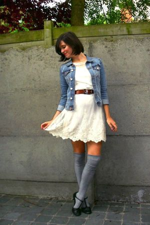white dress - blue jacket - gray socks - black shoes - brown belt
