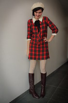 red dress - dark brown boots - ivory accessories