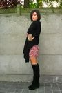 Black-boots-red-dress-black-cardigan-gold-belt
