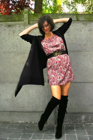 black boots - red dress - black cardigan - gold belt