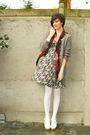 Beige-dress-white-tights-white-shoes-beige-cardigan-red-scarf-brown-ac