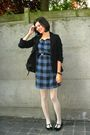 Blue-dress-white-tights-black-shoes-black-blazer-black-belt-white-bird