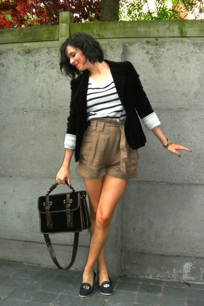brown shorts - white sweater - black blazer - black - blue shoes