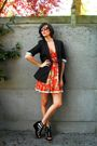 Orange-dress-black-blazer-black-shoes
