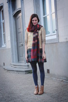 gold sweater - bronze boots - navy tights