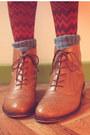 Navy-skirt-bronze-boots-sky-blue-socks-white-top-carrot-orange-cardigan
