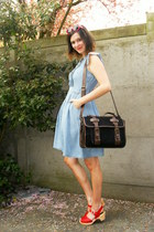 light blue dress - black bag - red clogs