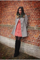 silver coat - black boots - salmon dress