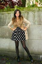 beige coat - beige scarf - black dress - black boots - tights