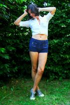 white shirt - blue bustier - blue shorts - silver shoes