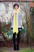 blue dress - gray sweater - black boots - yellow scarf