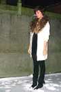White-sweater-black-dress-boots-silver-accessories