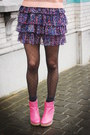 Peach-top-bubble-gum-boots-purple-skirt