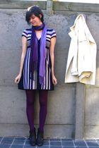 purple dress - purple tights - gray boots - white coat - purple scarf