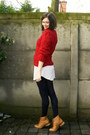 Bronze-boots-periwinkle-dress-ruby-red-sweater-navy-tights