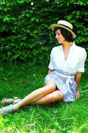 yellow Boater hat - blue skirt - white blouse - beige shoes - white ribbon belt