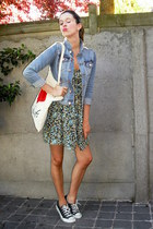 aquamarine dress - light blue jacket - black sneakers - white accessories - red
