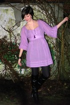 purple dress - black boots - purple necklace - silver bracelet