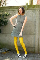 white shoes - black dress - yellow tights