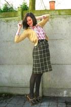 camel cardigan - red blouse - dark green skirt - dark brown tights - dark brown