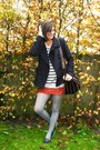 navy shoes - navy coat - heather gray sweater - silver tights - red skirt