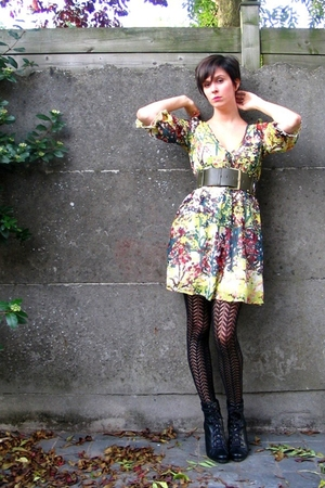 H&amp;M dress - Pimkie belt - Pimkie tights - Pimkie boots