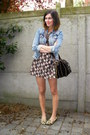 Brown-dress-sky-blue-jacket-tan-flats