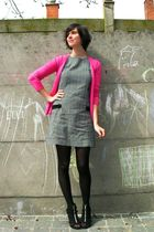 gray dress - pink cardigan - black tights - black shoes - white coat