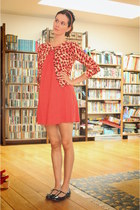 carrot orange dress - red cardigan - black flats