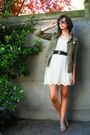 White-dress-black-belt-gray-shoes-green-jacket