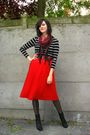 red skirt - black top - black boots - red scarf - brown belt - brown
