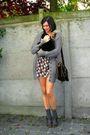 Brown-dress-brown-shoes-black-bag-gray-socks-gray-cardigan-white-acces