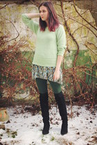 lime green sweater - black boots - light blue dress - dark green tights