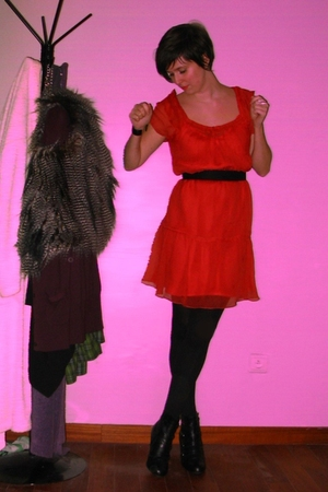 red dress - black tights - black boots - black accessories