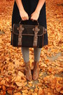 Brown-boots-black-bag-heather-gray-top-navy-skirt