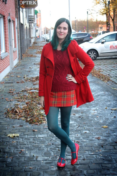 red coat - ruby red sweater - teal tights - brick red skirt