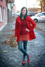 Red-coat-ruby-red-sweater-teal-tights-brick-red-skirt