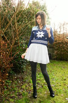 black boots - navy sweater - dark gray tights - periwinkle skirt - white headban