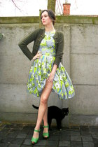 lime green dress - nude tights - chartreuse clogs - army green cardigan