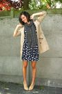 Beige-coat-beige-shoes-blue-dress-black-scarf