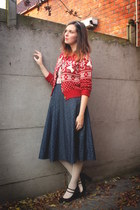 black pumps - ivory tights - red cardigan - navy skirt
