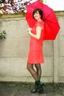 Orange-dress-black-tights-black-boots-black-accessories-red-accessories