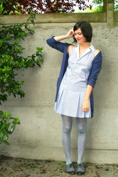 blue dress - blue cardigan - silver tights - gray shoes