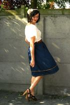 brown shoes - blue skirt - white top - brown belt - beige accessories