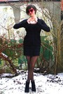 Black-cardigan-black-dress-black-socks-black-tights-red-glasses-black-
